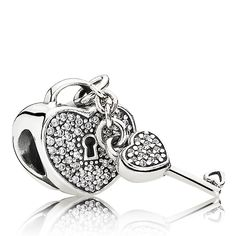 PANDORA Lock of Love charm in sterling silver with pavé set cubic zirconia.  A heart lock and key symbolize the bonds of love.<br><strong>Style: </strong>791429CZ