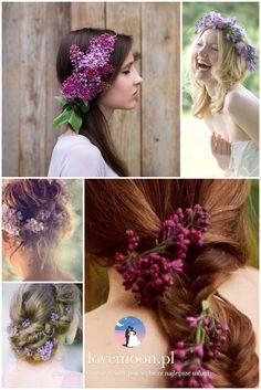 fryzura ślubna ślub w maju kwiaty we włosach wianek kwiaty bzu lilac wedding hair fryzury http://lovemoon.pl https://www.facebook.com/lovemoonpl/
