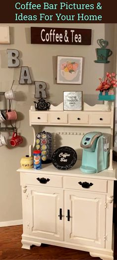 Coffee Bar Pictures & Ideas For Your Home Coffee Bar Home, Home Coffee Stations, Coffee Shop, Country Farmhouse Decor, Farmhouse Style Decorating, Recipe For Mom, Repurposed, Diy Home Decor, Coffee Time
