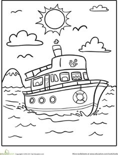 Kindergarten Vehicles Worksheets: Boat Coloring Page Make your world more colorful with free printable coloring pages from italks. Our free coloring pages for adults and kids. Art Drawings For Kids, Drawing For Kids, Easy Drawings, Coloring Book Pages, Printable Coloring Pages, Coloring Sheets, Coloring Worksheets, Transportation For Kids, Kindergarten Coloring Pages