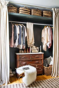 Ideas For Small Closet Door Curtains Small Apartment Closet, Small Closet Space, Small Closets, Small Spaces, Open Closets, Small Apartments, Dream Closets, Studio Apartments, Curtain Wardrobe
