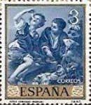 """Pintores Españoles - Bartolomé Estaban Murillo, 1617-1682. Título: """"Niños comiendo melón"""". Tema: Arte y Pintura. Fecha de emisión: 1965. Valor: 3 pesetas."""
