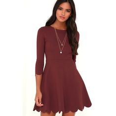 Cumulonimbus Clouds Burgundy Skater Dress ($56) ❤ liked on Polyvore featuring dresses, red, circle skirt, 3/4 sleeve dress, scalloped dress, red skater skirt and skater skirt dress