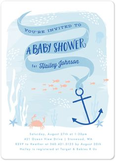 baby shower invitations - dreamy ocean by Karidy Walker                                                                                                                                                      More