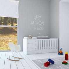 Cunas convertibles modernas para bebés colección UP ORBIT. Convertible en cabaña de juegos con cama alta y habitación infantil completa. Una solución de largo recorrido para bebés