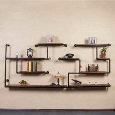 """3/4"""" Industrial Black Pipe, male female coupling, floor flange with BS thread used in Pipe Bookshelf"""