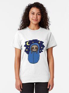 Cute Sloth Sleeping Camping T-shirt by jonmlam Cute Baby Sloths, Cute Sloth, Pop Art Fashion, Sloth Shirt, Dashiki Dress, African Wedding Dress, Slim Fit, Tshirt Colors, Wedding Dress