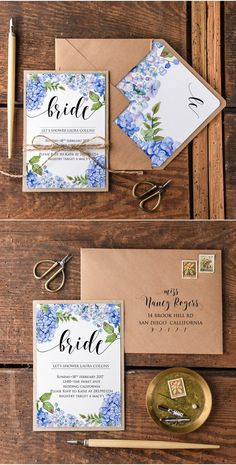 Rustic blue watercolor hydrangea kraft paper bridal shower invitations…