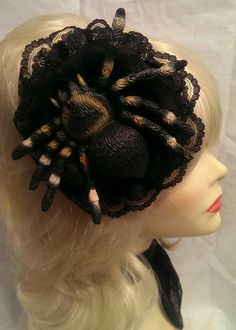 Halloween Spider Decorations, Fascinator, Scary, Etsy Shop, Lace, Check, Headdress, Im Scared, Racing