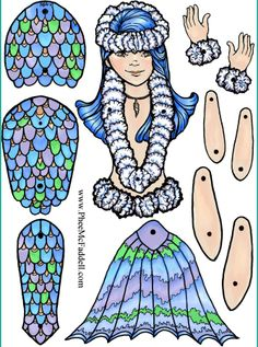 Mermaid jointed paper doll