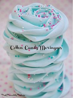 Pink Piccadilly Pastries: Cotton Candy Meringues (with snowflake sprinkles for frozen party. Mint Recipes, Sweet Recipes, Torta Baby Shower, Just Desserts, Delicious Desserts, Meringue Desserts, Best Meringue Cookies Recipe, Rose Meringue Cookies, Cotton Candy Flavoring