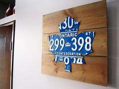 This Toronto Maple Leafs license plate art is handmade using authentic, blue vintage license plates from Ontario. Leaf Wall Art, Wood Wall Art, Wall Art Decor, Man Cave Wood Walls, Hockey Room, Hockey Teams, Maple Leafs Hockey, License Plate Art, Sports Signs