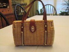 Vintage Woven Wicker Basket Style Purse by rootsandwingsvintage