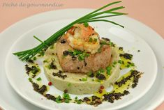 Seared Veal Fillet with Prawns, Truffled Artichoke Mash with Rainbow Peppercorns (potato-free, use 0 fat low cal dairy) Bacon, Potato Rice, Healthy Grains, Healthy Sugar, Worcestershire Sauce, Filets, Nut Butter, Prawn, Chorizo