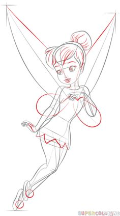 how to draw tinkerbell step by step drawing tutorials for kids and beginners