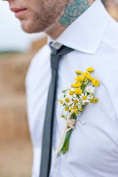 Yellow wild flower boutonnieres