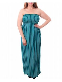 Turquoise Stripe Maxi Dress $39  Vertical stripe maxi dress has a strapless elastic bodice, empire waist, and long smooth skirt. Unlined. Slimmer Junior Plus Sizing.   #alight #plussize #plussizefashion #plussizeclothing #spring #summer #trend #trendy #cute #turquoise #stripes #stripe #striped #green #maxidress #maxi #dress #plussizedress #plussizemaxidress