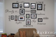 Family Wall Decal - Set of 12 Family Words - Family Room Wall Decals by WallapaloozaDecals on Etsy