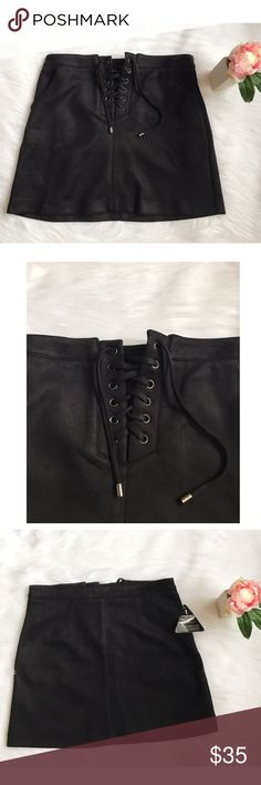 NWT Rare London Faux Suede Lace Up Skirt Rare London is a brand sold at ASOS, Topshop, AND Nastygal. Available in a S/M or M/L • Reasonable offers accepted ASOS Skirts