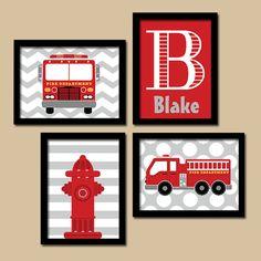 Fire Truck Wall Art Nursery Decor Canvas Or Prints Boy Bedroom Fireman Artwork Gift Set Of 4