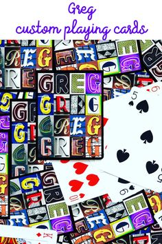Get ready for family game night with these custom playing cards featuring the name GREG in photos of sign letters! Makes a great gift for your poker-loving guy!