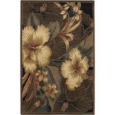 "Chandra Nassau Taupe Floral Area Rug Rug Size: 5' x 7'6"""