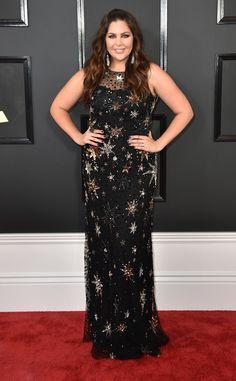 Hillary Scott from Grammys 2017 Red Carpet Arrivals  In Jenny Packham