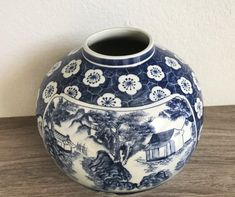 Large Vintage Hand Painted Asian Blue and White Porcelain Jar without a Lid