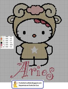 Punto De Cruz Horóscopo Hello Kitty Aries
