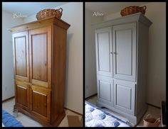 """Armoire painted with Annie Sloan 'French Linen' paint # Armoire peinte avec de la peinture """" French Linen """" Annie Sloan Trendy annie sloan painted furniture blue french linensAnnie # Bedroom Furniture Makeover, Painted Bedroom Furniture, Refurbished Furniture, Repurposed Furniture, Shabby Chic Furniture, Furniture Projects, Diy Furniture, Furniture Design, French Furniture"""
