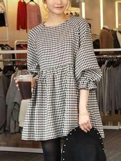 Korean Style Vintage Women Loose-fitting Houndstooth Print Cute Dress