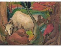 Indian Men with Two Cows; Artist: Cheong Soo Pieng; Year: 1949; Country: Singapore; Medium: oil on canvas laid on masonite; Dimensions: 75 x 105 cm