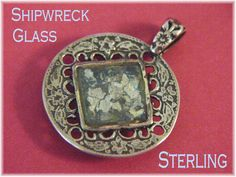 Shipwreck Glass - Sterling Silver Pendant - Blue Iridescent Bottle Glass - Roman Ancient - FREE Shipping (29.00 USD) by FindMeTreasures