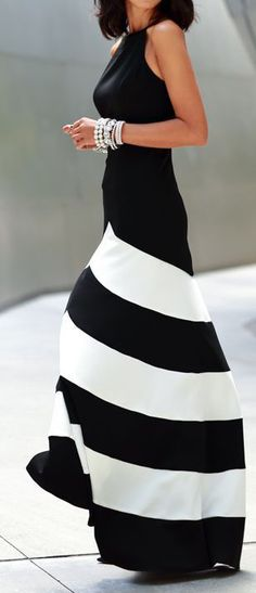 Black Stripe Sleeveless Maxi Dress  #trendygirl