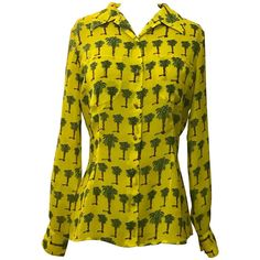 Versace Jeans Couture 1990s Yellow Palm Tree Print Blouse Shirt | From a collection of rare vintage shirts at https://www.1stdibs.com/fashion/clothing/shirts/
