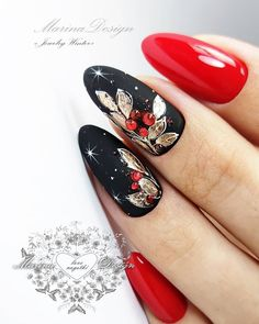 Winter nail polish ideas in black, gold and cherry red.❤ - Winter nail polish ideas in black, gold and cherry red.❤ Winter nail polish ideas in black, gold and cherry red. Black Nails, Red Nails, Hair And Nails, Xmas Nails, Holiday Nails, Holiday Acrylic Nails, Cute Nails, Pretty Nails, Gel Nail Art Designs