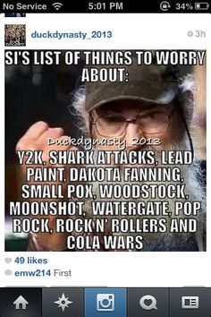 Things to worry about..... Seems about right.