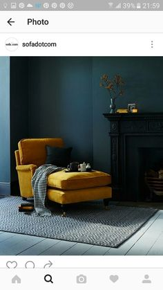 Interior Colour Scheme Dark Walls With Bright Yellow Chaise Top trending pins for June, see the rest of the favourites for interiors and style inspiration! Colour contrasting interior dark teal walls with mustard furniture. Dark Interiors, Colorful Interiors, House Interiors, Cozy Reading Rooms, Interior Color Schemes, Colour Schemes, Teal Walls, Dark Green Walls, Interiores Design