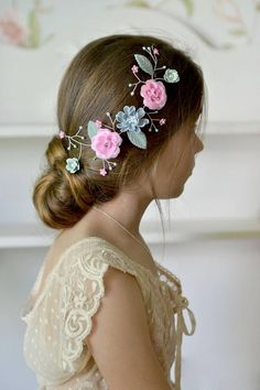 Blue pink bridal vine hair Romantical crown piece hair Wedding #hairvine #floralvine #crown #hairpiecewedding #flowergirl #promgirl