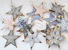The samples star Suzanne Sullivan ceramics. - The samples star Suzanne Sullivan ceramics. Noel Christmas, All Things Christmas, Handmade Christmas, Christmas Ornaments, Ceramic Christmas Decorations, Xmas Decorations, Clay Ornaments, Star Ornament, Suzanne Sullivan Ceramics