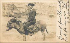 Lot/2 sent 1906 COLORADO rppcs MINE STRUCTURES Posed Man Donkey CRIPPLE CREEK