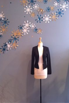 Black Tuxedo Jacket with no Collar by Ya $62.00