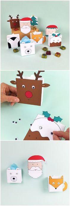 Free Printable Christmas Holiday Favor Boxes. Adorable Christmas treat gift boxes or Advent calendar for kids!