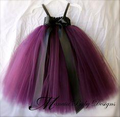 Eggplant Tutu Dress/ Plum Tutu Dress / Plum by ManaiaBabyDesigns. Ivory bow instead of black