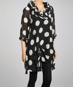 Black & White Polka Dot Silk-Blend Ruffle Top   Daily deals for moms, babies and kids