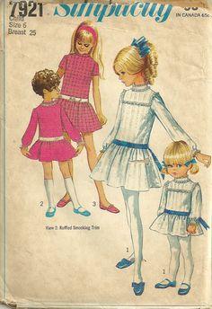 1960s Simplicity 7921 Girls DRESS Pattern Drop Waist by mbchills
