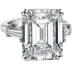 An Important 10.02ct Emerald Cut Diamond GIA Cert Ring at 1stdibs ❤ liked on Polyvore