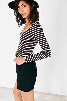 UO Stripe Cropped Tee - Urban Outfitters