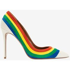 Aquazzura Rainbow Suede Pointy Toe Pump ($795) ❤ liked on Polyvore featuring shoes, pumps, heels, multi, white heel pumps, suede pointed toe pumps, high heel pumps, white heel shoes and suede pumps
