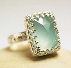 Aqua Chalcedony Ring Sterling Silver Natural Faceted Blue Stone-made to order in your size